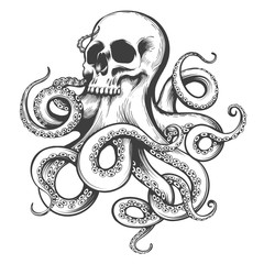 Hand Drawn Tattoo of Skull with Octopus Tentacles