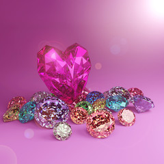 Wall Mural - A heart shape diamond on a pile of colorful diamond on pink background with flare. \