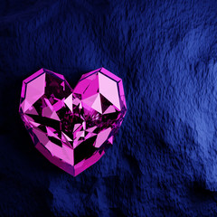 Wall Mural - Purple heart shape diamond on rough blue background.