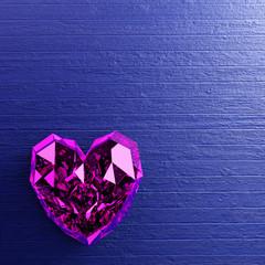 Fototapete - Purple heart shape diamond on blue wooden background.
