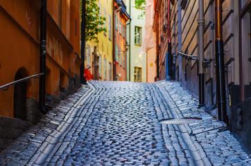 Foto auf Leinwand Stockholm Gamla stan street