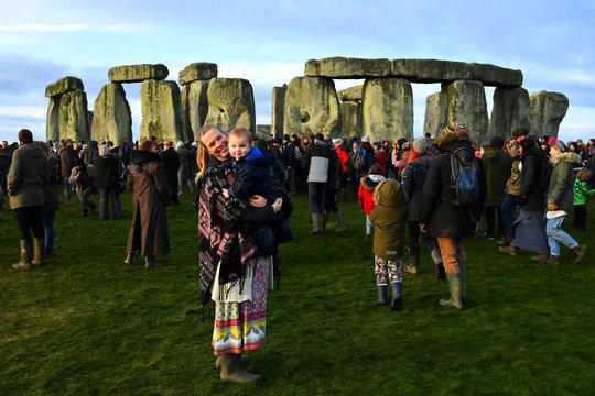 Winter solstice at Stonehenge stone circle in Amesbury