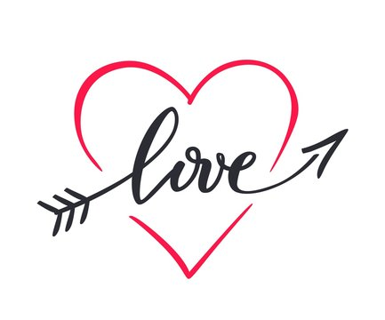 The word love hand drawn, lettering love in the form of an arrow inside the heart.