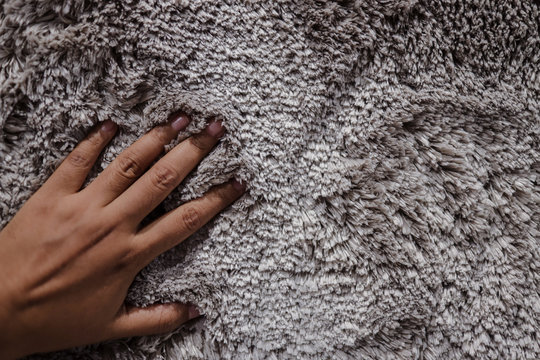 Closeup of Hand Touching Fur Fabric Texture. Smooth Fluffy and Silky