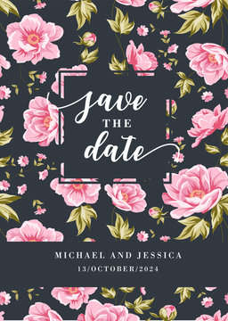 Wedding invitation with pink peony flowers on gray background. Floral design for cocktail party template and save the date cards with place for text. Vector illustration.
