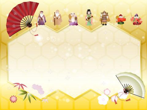 七福神と松竹梅に扇子のイラストキラキラした金色のメッセージボード背景素材