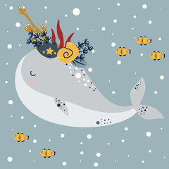 Printed roller blinds Heaven winter poster with north whale and small fish - vector illustration, eps