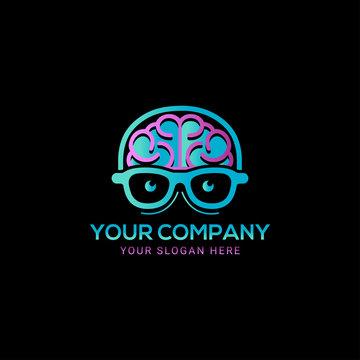 colorful Brain head geek logo vector