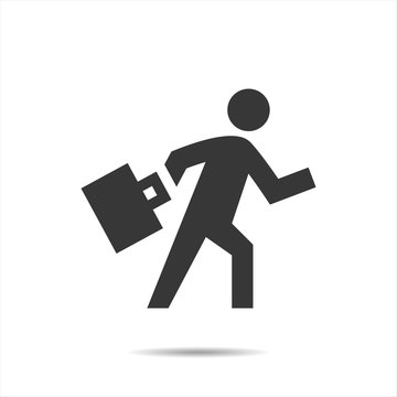 Businessman go to work icon vector illustration