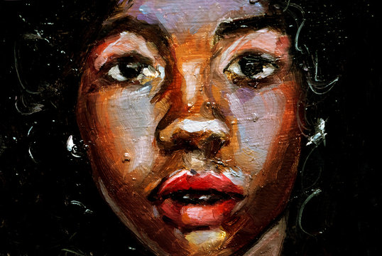 Beautiful black afro american woman with afro hair on green textured background, face portrait in oils on board