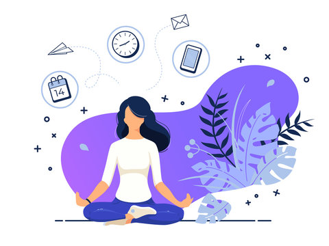 Vector illustration concept of business woman practicing meditation in office. The girl sits in the lotus position, the thought process, the inception and the search for ideas. Practicing Yoga in work