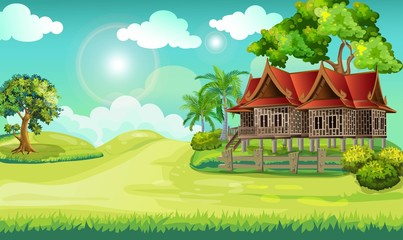 Papiers peints Vert chaux Cartoon landscape.Panorama view of Thailand local landscape with green meadow, tree with house