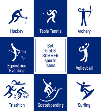 Summer sports icons set, 5 of 6, vector illustration, vector template