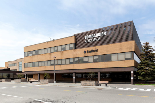 Toronto, Ontario, Canada - May 06, 2018: Bombardier Aerospace building at downsview area, a division of Bombardier Inc.