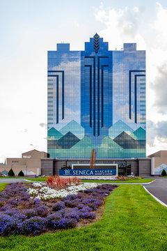 Niagara Falls, New York, USA - September 2, 2019: Seneca Niagara Casino & Hotel in Niagara Falls, New York, USA owned by the Seneca Nation of Indians.