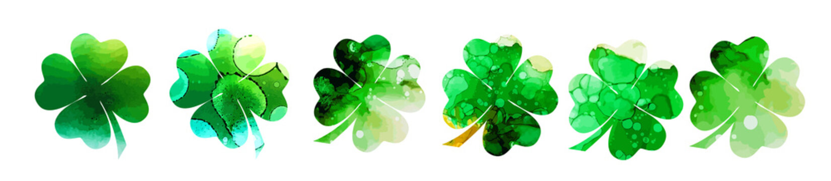 Set of watercolor four-leaf clovers. Happy St. Patrick's Day. mixed media. Vector illustration