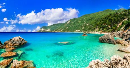 beautiful deserted beaches of Ionian islands. Lefkada, Agios Nikitas village. Greece