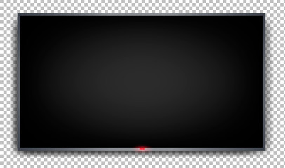 Fototapeta Flat monitor on a transparent background. Wall mounted plasma TV with black screen. Realistic image. Element for dizan. Isolated vector illustration. obraz