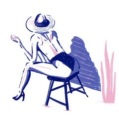 Woman with hat sitting