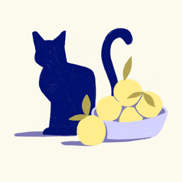 A cat and a basket of fruits