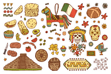 Mexico Vector set. Mexican items - Hand drawn doodle Mexican sights, cultural artifacts, Day of the Dead Attributes, patterns, food