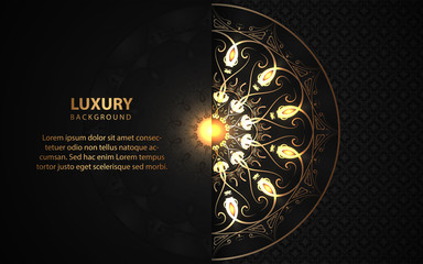 Luxury black background with mandala style shapes a combination golden ornament decoration. Elegant vector design template for cover, banner, wedding invitation, card, business, advertising, wallpaper