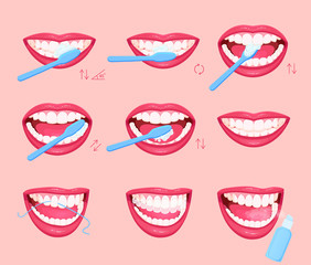How to brush your teeth instruction, infographics. Healthy lifestyle.