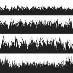 Black grass silhouettes set isolated on white background. Vector illustration