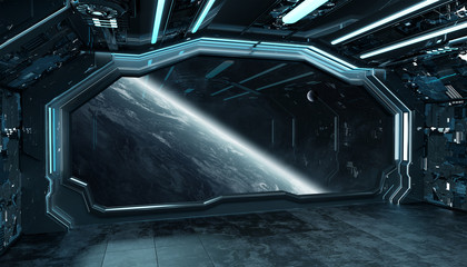 Fototapete - Dark blue spaceship futuristic interior with window view on planet Earth 3d rendering