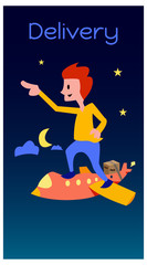 Aluminium Prints Superheroes illustration of delivery using aircraft against the night sky. a courier delivers the pack. Logistics template vector