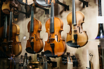 A lot of violins in a shop window selling musical instruments.