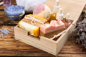 Wall Mural - Natural handmade soap bars in box on wooden background