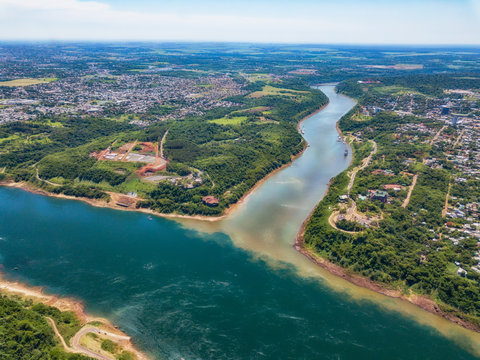 Aerial view of the landmark of the three borders (hito tres fronteras), Paraguay, Brazil and Argentina in the Paraguayan city of Presidente Franco near Ciudad del Este..