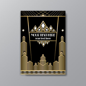 Art Deco template golden-black, A4 page, menu, card, invitation, Sun and city lights in a Art Deco/Art Nuvo style, beautiful background.