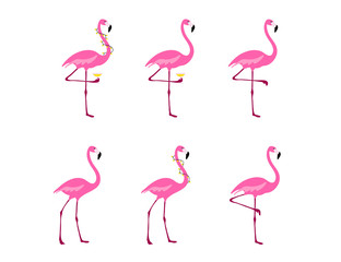 Printed roller blinds Flamingo Flamingo clipart set. Tropical bird drawing. Isolated on white. Colorful cute cartoon design.