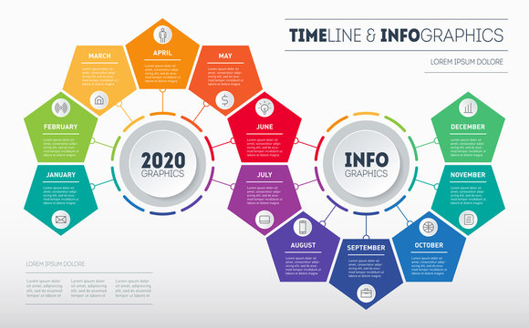 Transformation plan for the year. Timeline, Business Infographic concept with 12 months, parts, steps or technology processes. Template for presentation. Time line with Twelve icons.