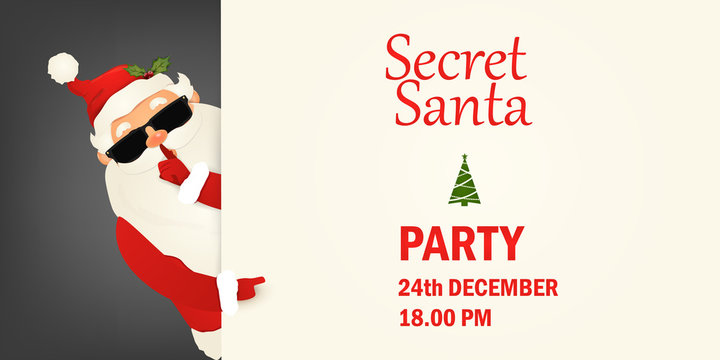 Secret Santa Claus invitation background standing behind a blank sign, showing on big blank sign. Cartoon Santa Claus character holding a placard with white copy space. Santa clause party.