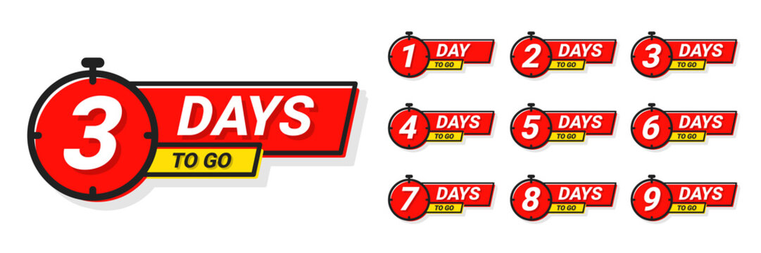 Countdown badges. Number of days left to go, from 1 to 9. Countdown left days, stylized counter in red and yellow colors