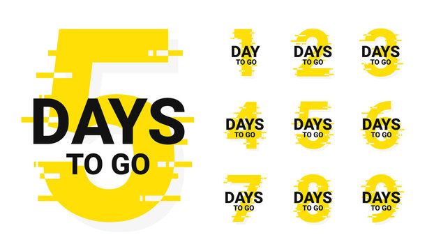 Countdown badges. Number of days left to go, from 1 to 9. Countdown left days, stylized counter in yellow and black colors