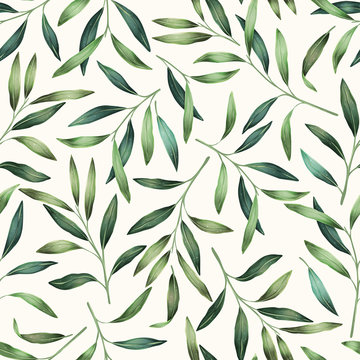 Green leaves seamless pattern