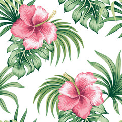 Tropical vintage pink hibiscus floral green palm leaves seamless pattern white background. Exotic jungle wallpaper.