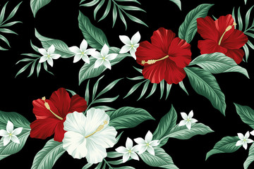 Wall Murals Pattern Tropical Hawaiian vintage flower red hibiscus and white plumeria floral green palm leaves seamless pattern black background. Exotic jungle wallpaper.
