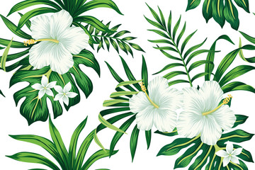 Tropical white hibiscus plumeria floral green leaves seamless pattern white background. Exotic jungle wallpaper.
