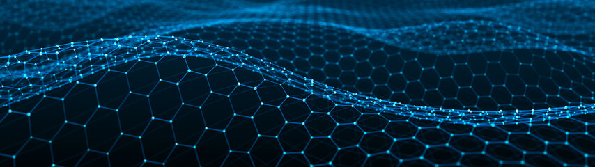 Abstract wave of particles and lines. Hexagon. Big data. Network or connection. Widescreen illustration. Digital background. 3d rendering.