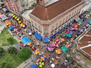 Manaus center, view of the streets Rua Marcíllio Dias and Rua Teodoreto, at Praca Tenreiro Aranha. Manaus, Amazon – Brazil