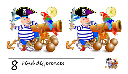 Find 8 differences. Illustration of cute pirate near the gun. Logic puzzle game for children and adults. Printable page for kids textbook. Developing counting skills. IQ test. Vector cartoon image.