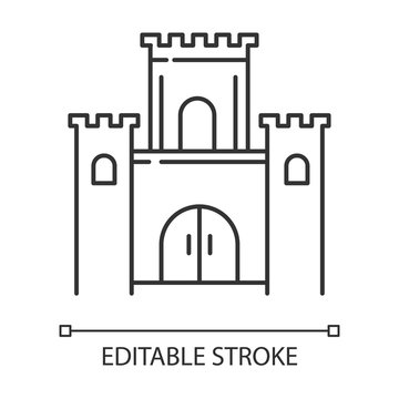 Solomon temple Bible story linear icon. Jerusalem king castle. Worship building. Biblical narrative. Thin line illustration. Contour symbol. Vector isolated outline drawing. Editable stroke