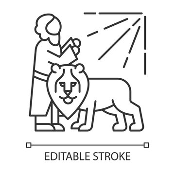 Daniel in lion den Bible story linear icon. Legendary hero praying. Religious legend. Biblical narrative. Thin line illustration. Contour symbol. Vector isolated outline drawing. Editable stroke