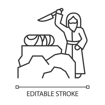 Binding of Isaac linear icon. Hebrew Bible story. Abraham sacrificing son on Moriah altar. Biblical narrative. Thin line illustration. Vector isolated outline drawing. Editable stroke