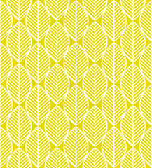 Seamless pattern with white and yellow leaves ornament